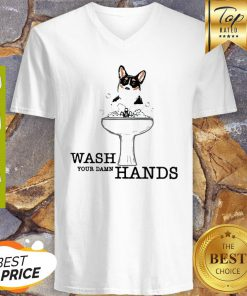 Corgi Wash Your Damn Hands Coronavirus V-neck