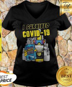 I Survived Be Wise Sanitize Covid-19 V-neck