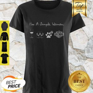 I'm A Simple Woman Wine Flip Flop Dog Paw Harley Davidson Logo Shirt