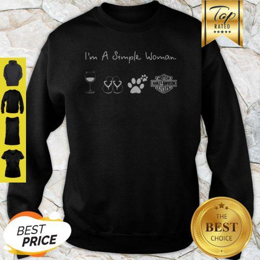 I'm A Simple Woman Wine Flip Flop Dog Paw Harley Davidson Logo Sweatshirt