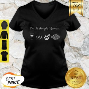 I'm A Simple Woman Wine Flip Flop Dog Paw Harley Davidson Logo V-neck