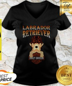 Labrador Retriever Mashup Motor Harley Davidson Cycles V-neck