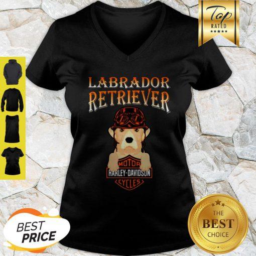 Labrador Retriever Mashup Motor Harley Davidson Cycles V-neck