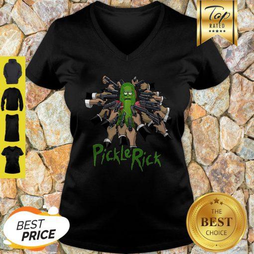 Nice John Wick And Pickle Rick V-neck