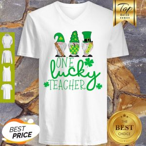 Nice St Patrick's Day Gnome One Lucky Teacher V-neck