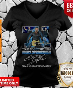 71 Years Of Bruce Springsteen 1949-2020 Thank You For The Memories Signature V-neck