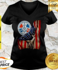 International Association Of Machinists And Aerospace Workers American Flag V-neck