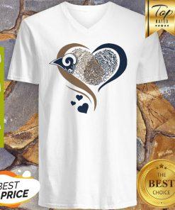 Los Angeles Rams Heart Fingerprint V-neck