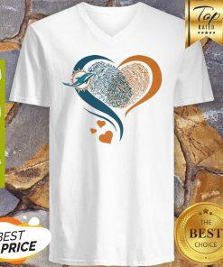 Miami Dolphins Heart Fingerprint V-neck