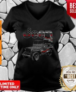 Official American Flag Jeep V-neck