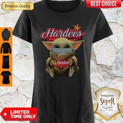Perfect Baby Yoda Face Mask Hug Hardee's Shirt