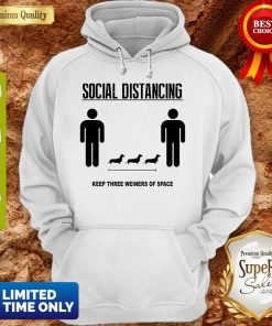 Social Distancing Dachshund Keep Three Weiners Of Space Hoodie