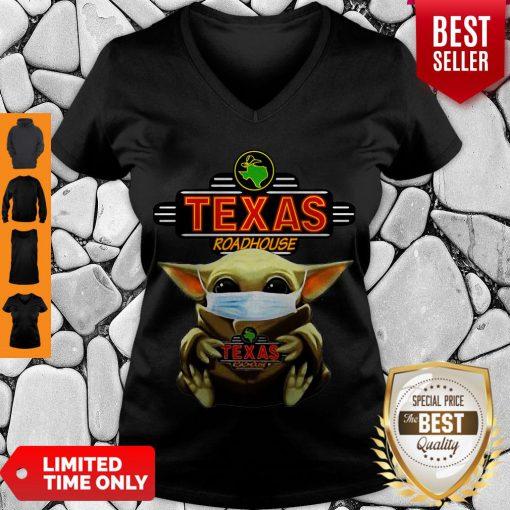 Star Wars Baby Yoda Hug Texas Roadhouse COVID-19 V-neck