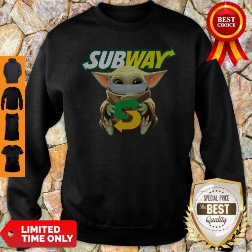 Star Wars Baby Yoda Mask Subway I Can't Stay At Home COVID-19 Sweatshirt