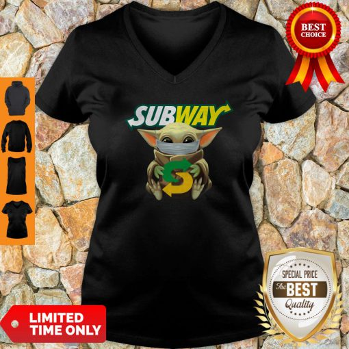 Star Wars Baby Yoda Mask Subway I Can't Stay At Home COVID-19 V-neck