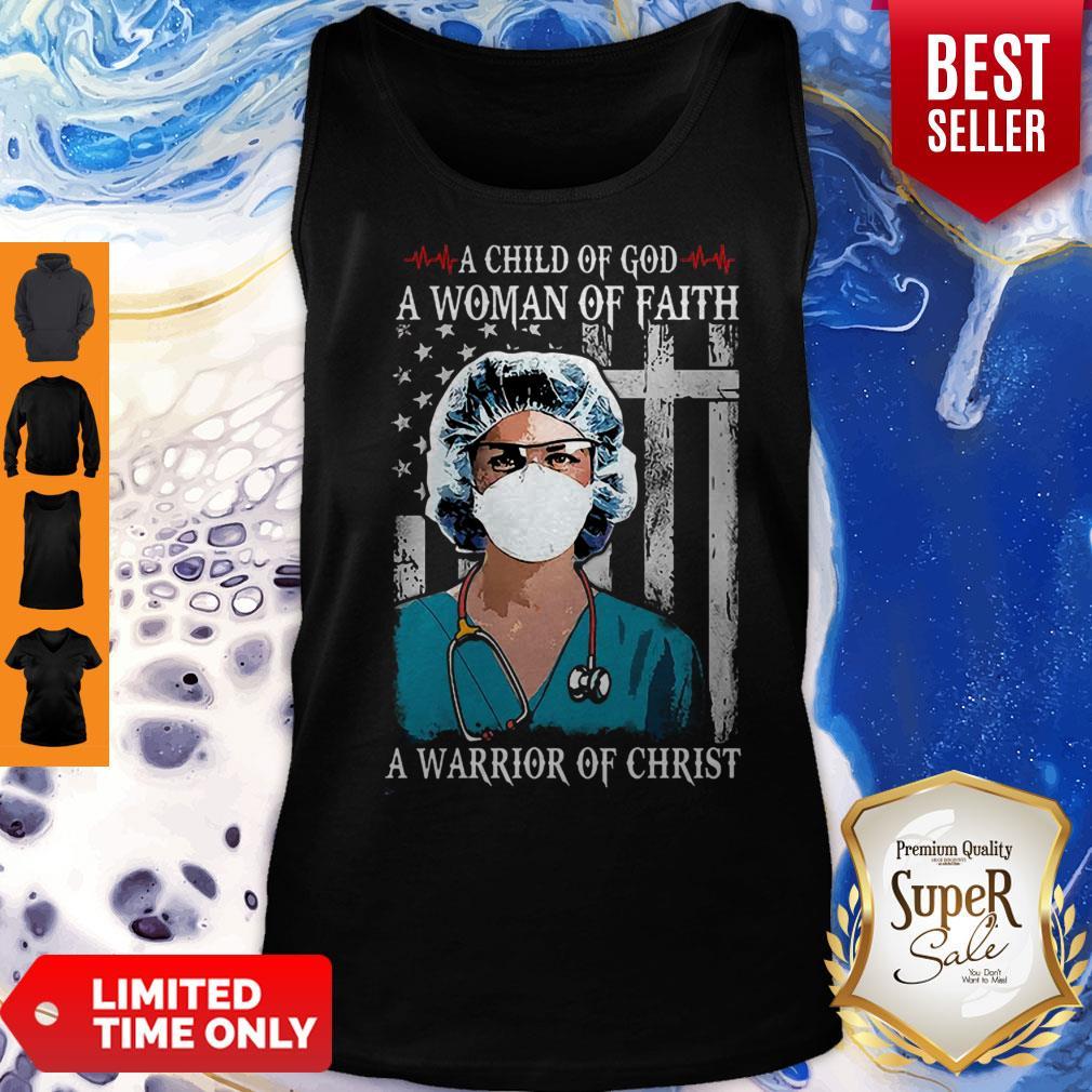 Nurse American Flag A Child Of God A Woman Of Faith Coronavirus Tank Top