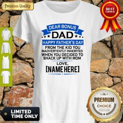 Funny Dear Bonus Dad Happy Father's Day From The Kid Shake With Mom Shirt