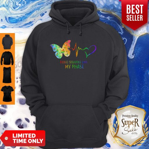 Good Heartbeat Being Straight Was My Phase Butterfly Black Hoodie