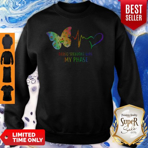 Good Heartbeat Being Straight Was My Phase Butterfly Black Sweatshirt