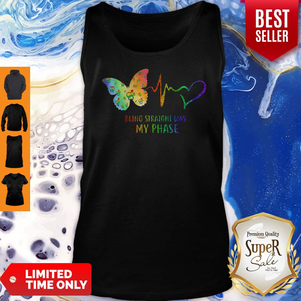 Good Heartbeat Being Straight Was My Phase Butterfly Black Tank Top