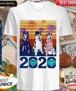 Original Husky 4 Of July 2020 Quarantined Vintage V-neck