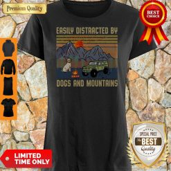 Pretty Easily Distracted By Dogs And Mountains Vintage Shirt