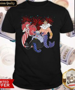 Cute The Little Mermaid Happy The 4th Of July American Flag Independence Day Shirt