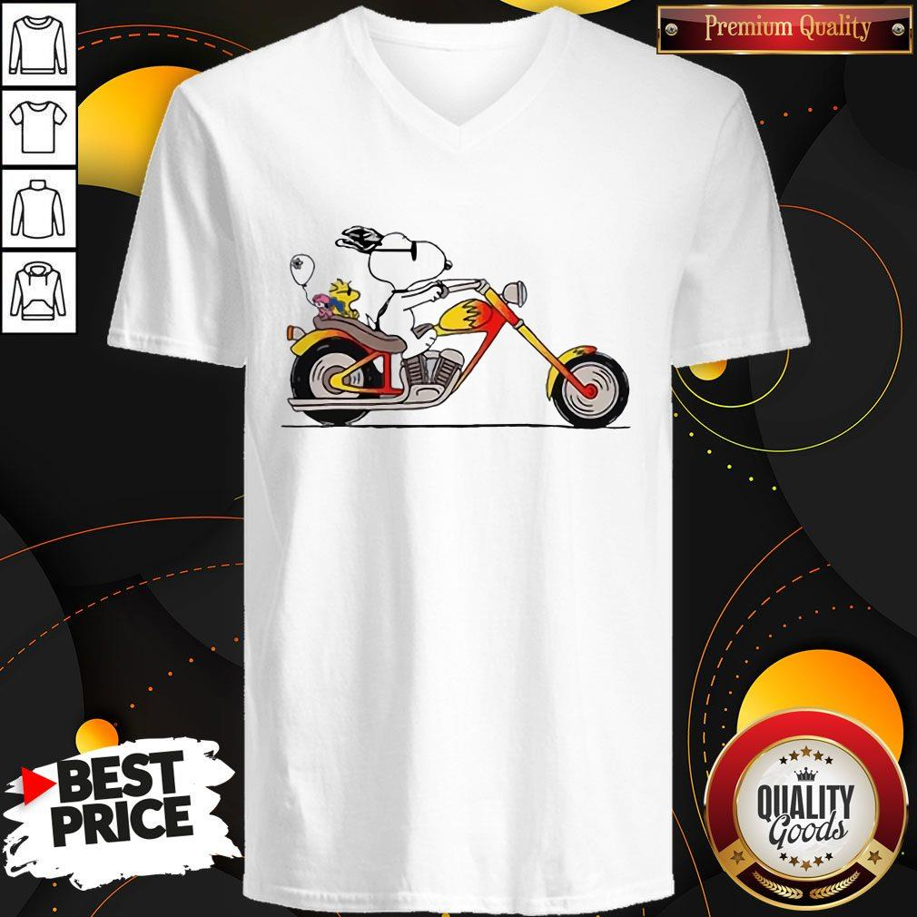 Great Snoopy Riding Motorcycle V-neck