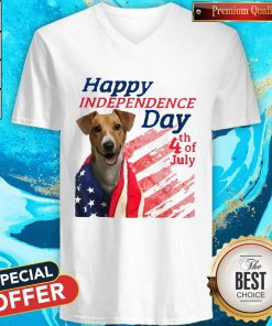 Love Jack Russell Terrier Happy Independence Day 4th Of July American Flag V-neck
