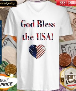 Nice God Bless The USA Heart V-neck