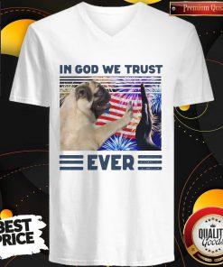 Nice Pug In God We Trust Ever American Flag Independence Day Vintage V-neck