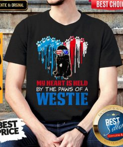 Top Happy The 4th Of July My Heart Is Held By The Paws Of A Newfoundland Shirt