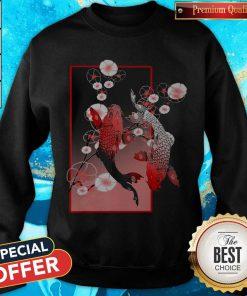 Beautiful Sakura Cherry Blossom Koi Fish Sweatshirt