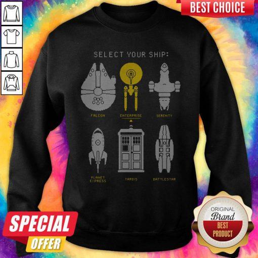 Cute Select Your Ship Falcon Enterprise Serenity Planet Express Tardis Battlestar Sweatshirt