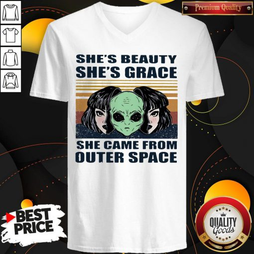 Cute She's Beauty She's Grace She Came From Outer Space Vintage Retro Alien V-neck