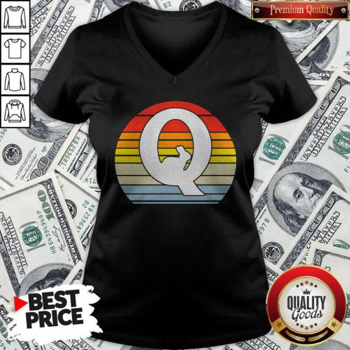 Love QAnon Rabbit White Q Cool WWG1WGA Vintage Retro V-neck