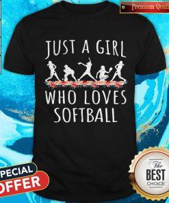 Lovely Softball Just A Girl Who Loves Let Shirt