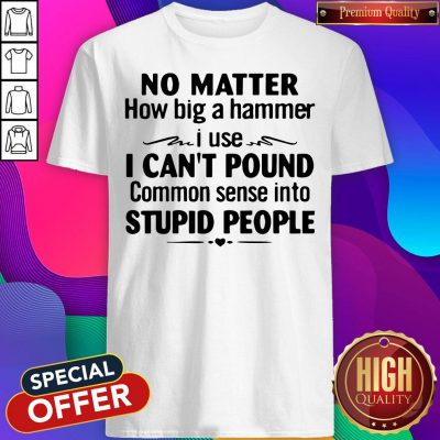 Nike No Matter How Big A Hammer I Use I Can't Pound Common Sense Into Stupid People Shirt