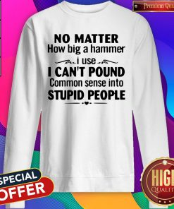 Nike No Matter How Big A Hammer I Use I Can't Pound Common Sense Into Stupid People Sweatshirt