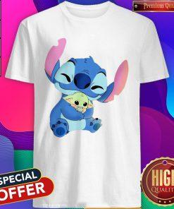 So Beautiful Baby Stitch Hug Baby Yoda Shirt