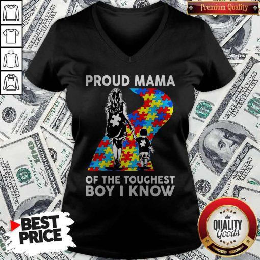 Sweet Autism Proud Mama Of The Toughest Boy I Know V-neck