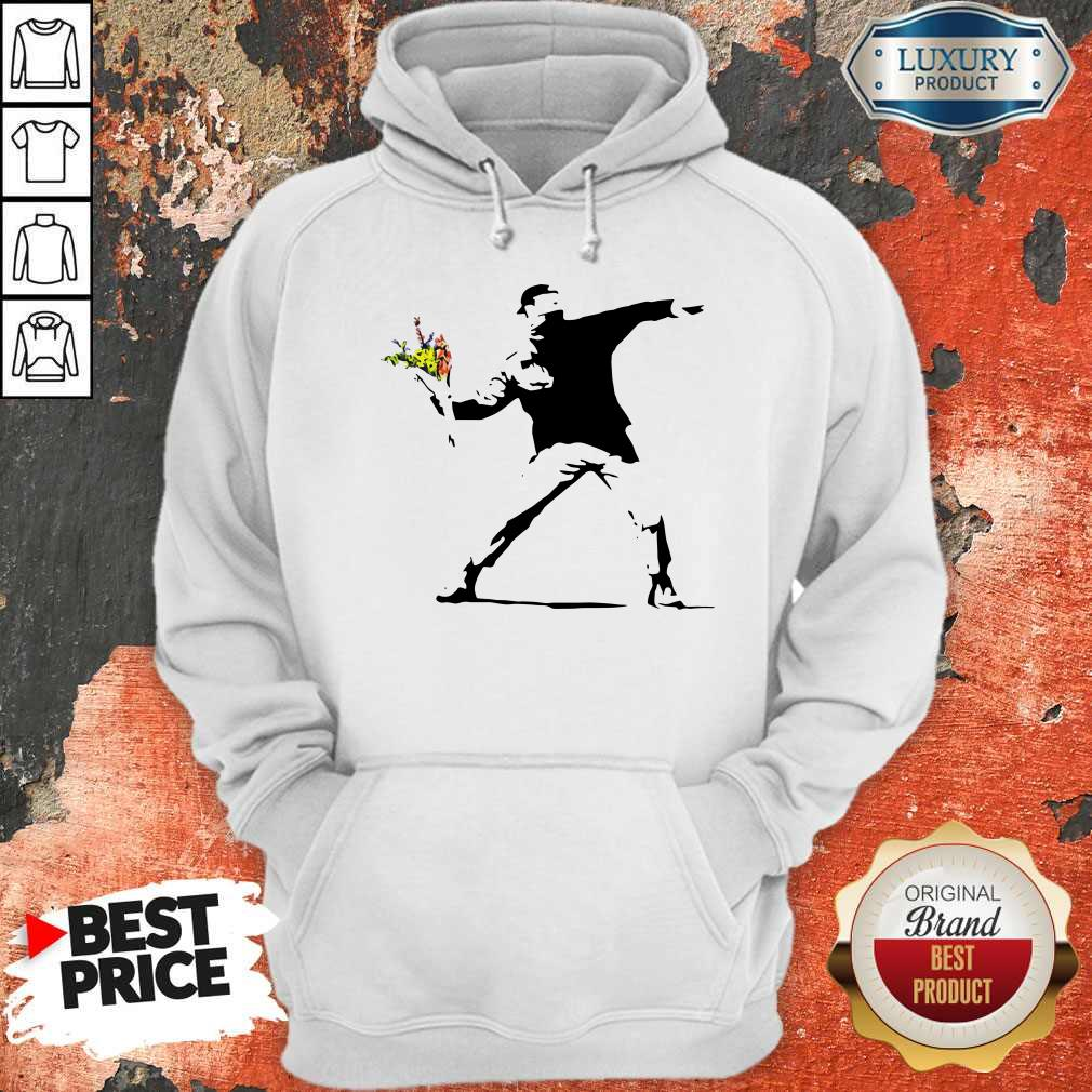 Sweet Banksy Rage Flower Thrower Kids Hoodie