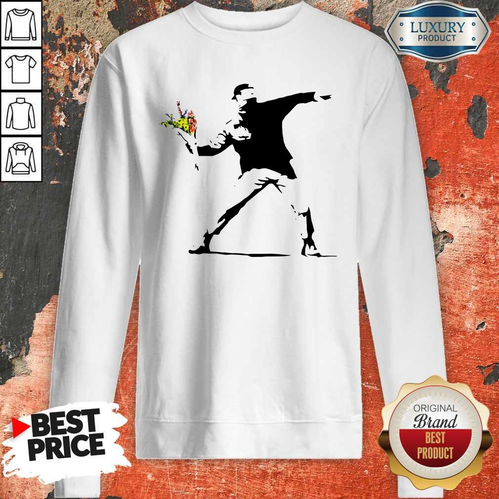 Sweet Banksy Rage Flower Thrower Kids Sweatshirt