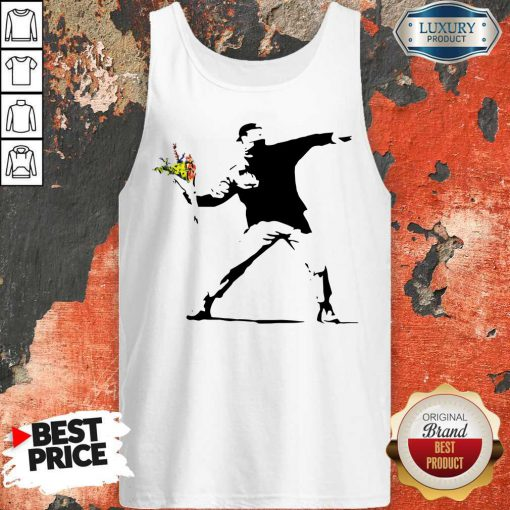 Sweet Banksy Rage Flower Thrower Kids Tank Top