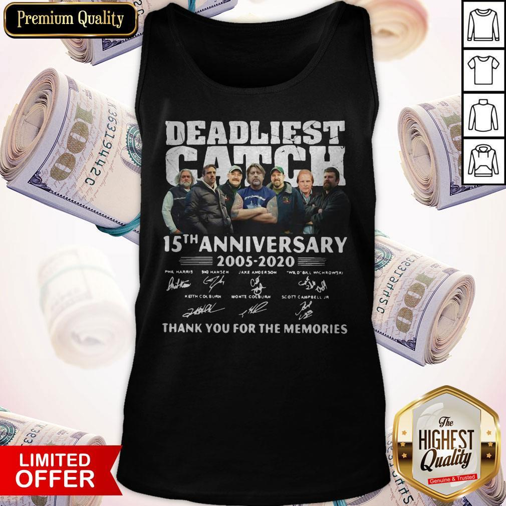 Vip Deadliest Catch 15th Anniversary Thank You For The Memories Signatures Tank Top