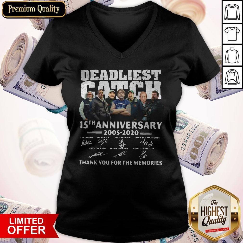 Vip Deadliest Catch 15th Anniversary Thank You For The Memories Signatures V-neck