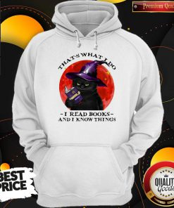 Cute Black Cat Witch That's What I Do I Read Books And I Know Things Sunset Halloween Hoodie