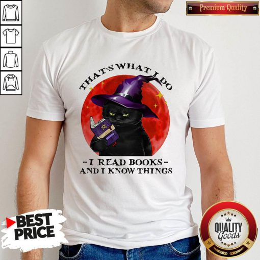Cute Black Cat Witch That's What I Do I Read Books And I Know Things Sunset Halloween Shirt