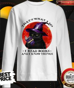 Cute Black Cat Witch That's What I Do I Read Books And I Know Things Sunset Halloween Sweatshirt