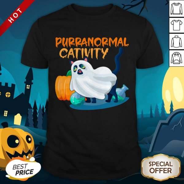 Cute Ghost Cat Purranormal Activity Funny Halloween Shirt